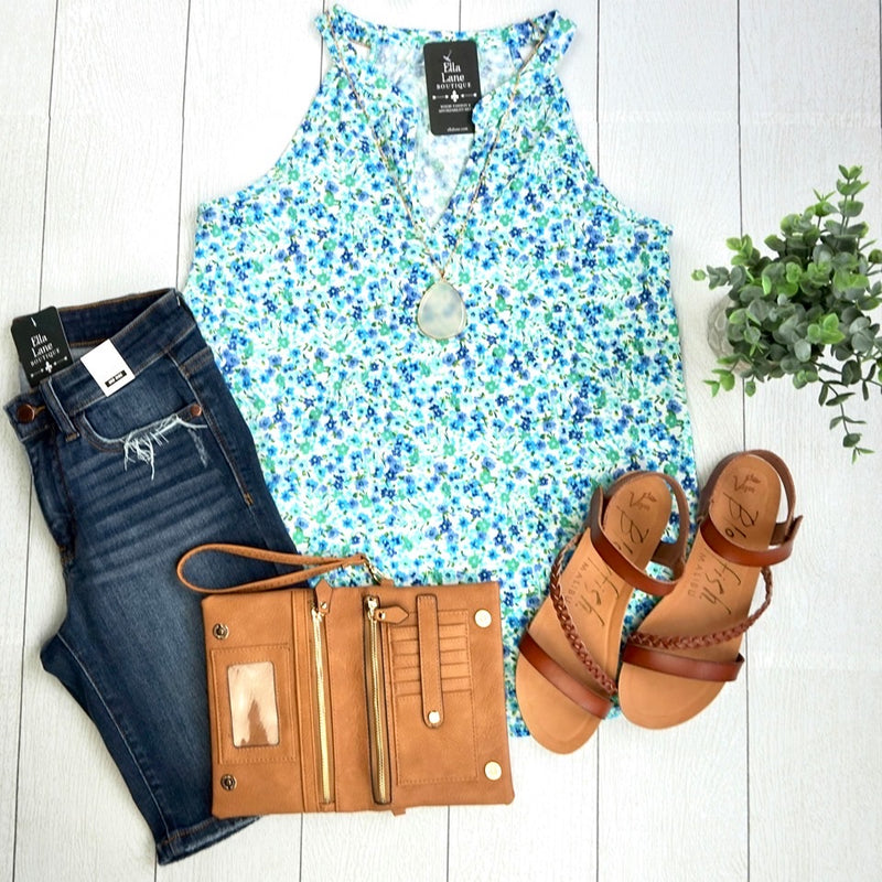 Emmie Floral Tank - Blue- FINAL SALE
