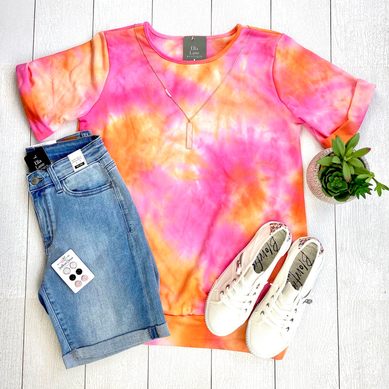 Pink and Orange Tie Dye Top