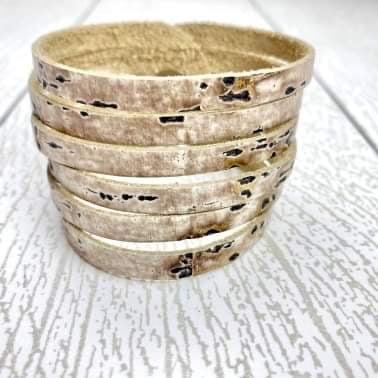 Sliced Leather Cuff - Driftwood Ivory