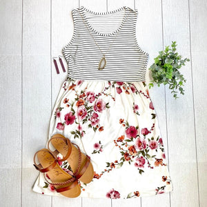 Michelle Mae Floral and Stripes Tank Dress