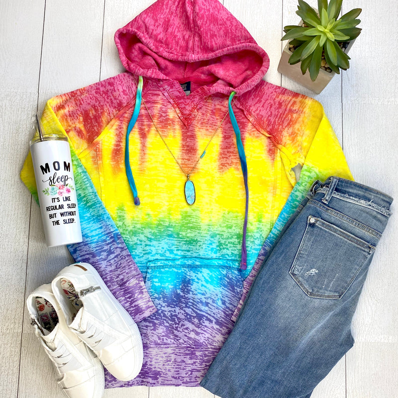 Burnout Rainbow Hoodie FINAL SALE