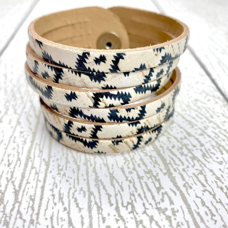 Sliced Leather Cuff - Morocco Cork