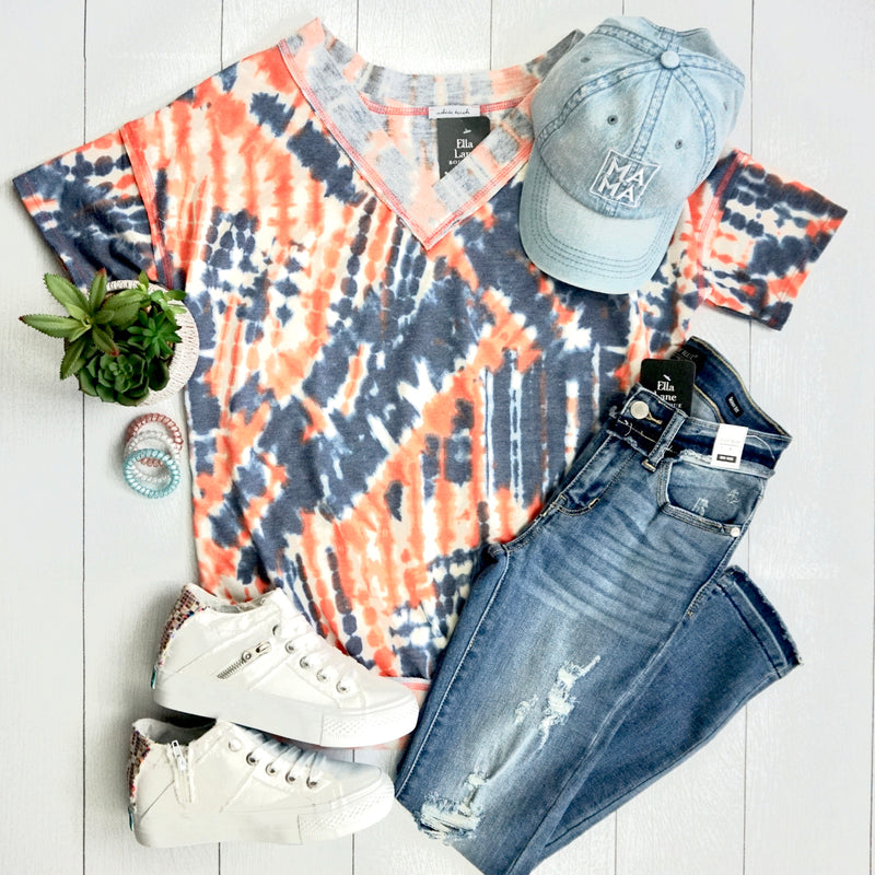 Orange Tie Dye Banded Top- FINAL SALE