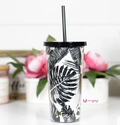 Black Palm Leaf Tumbler