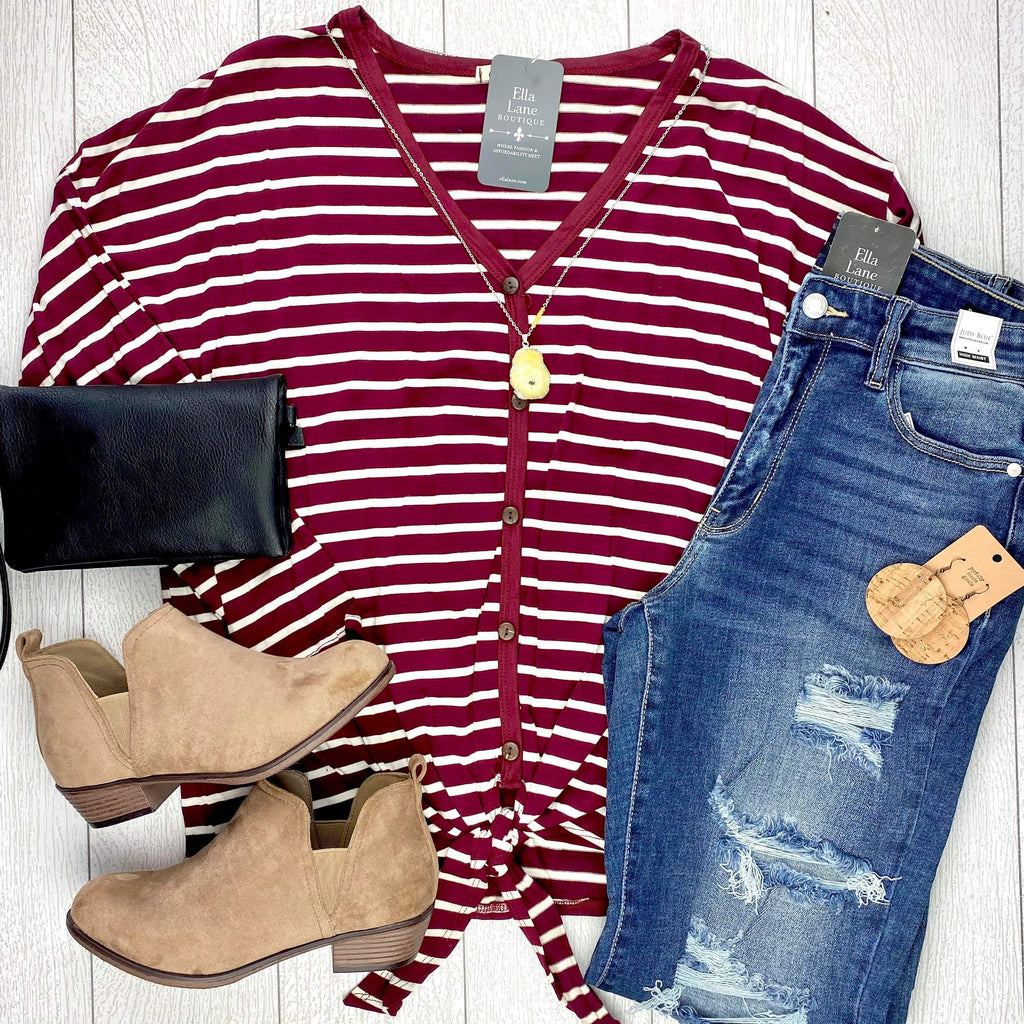 Burgundy Stripes Front Tie Top
