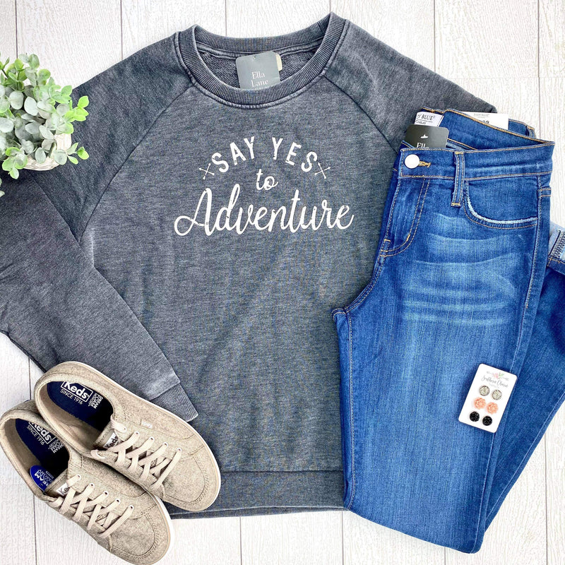 Say Yes To Adventure Pullover Sweatshirt - Charcoal