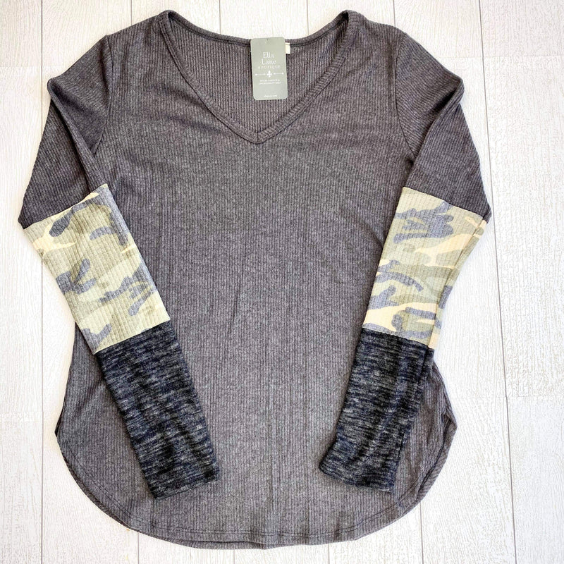 Karissa Long Sleeve Top - Charcoal