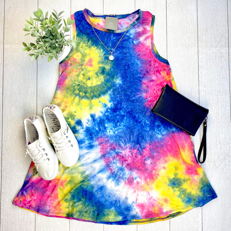 Sleeveless Tie Dye Dress - Navy Mix