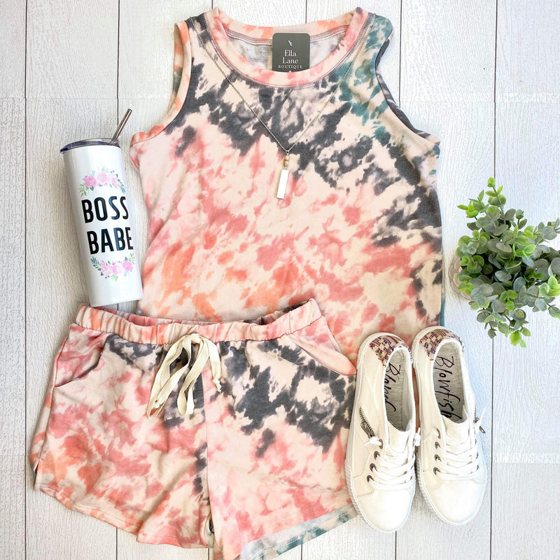 Grey/Coral Tie Dye Lounge Set