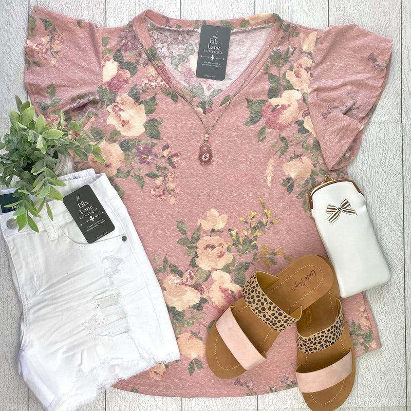 Floral Flutter Sleeve Top - Rose