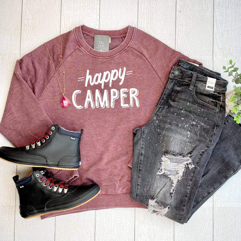 Happy Camper Pullover Sweatshirt - Burgundy