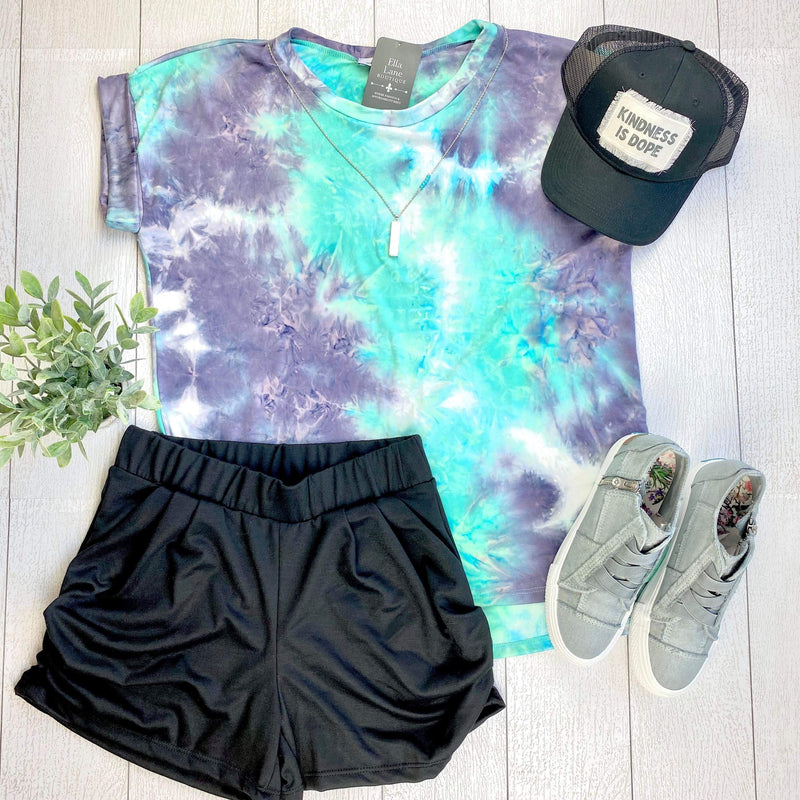 Short Sleeve Mint Tie Dye Top