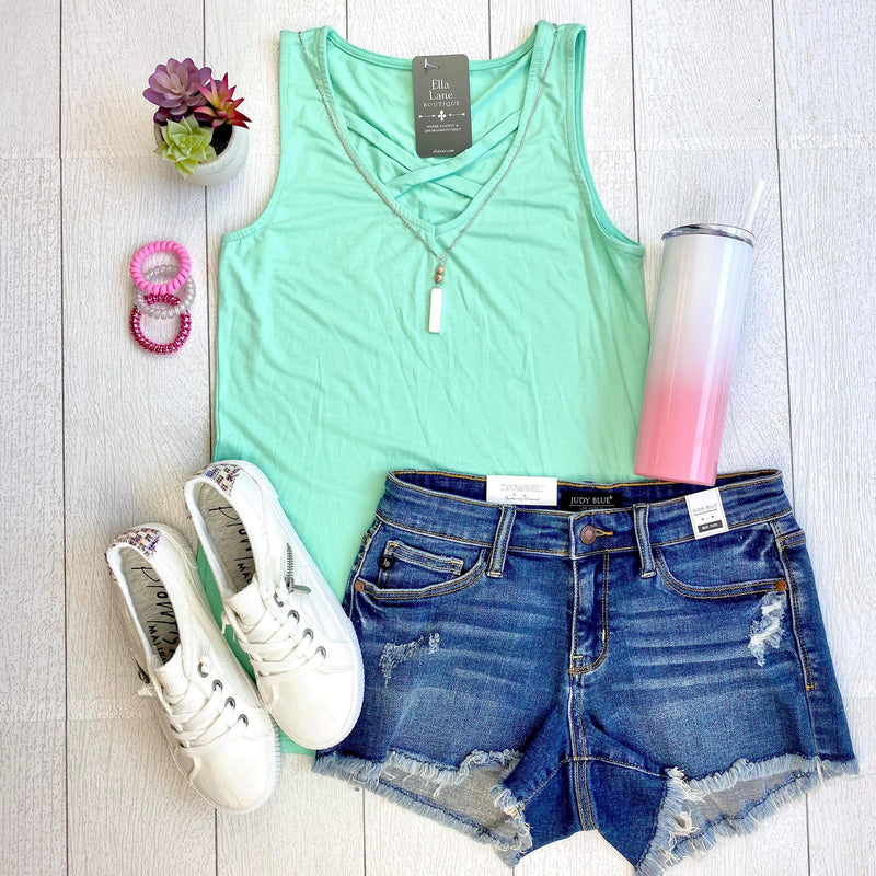 Allie Criss Cross Tank - Mint