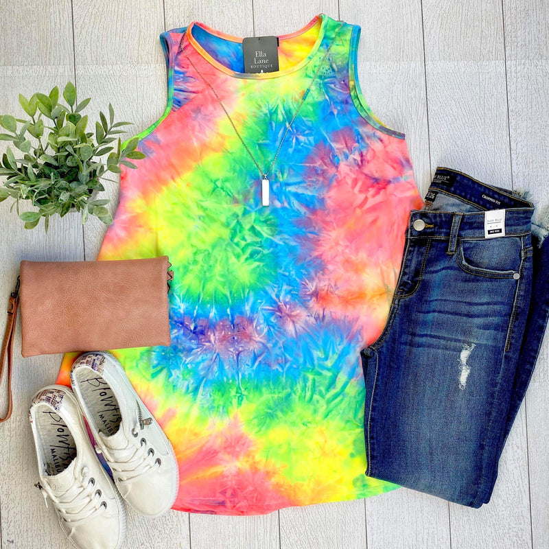 Rainbow Neon Sleeveless Tie Dye Tank FINAL SALE