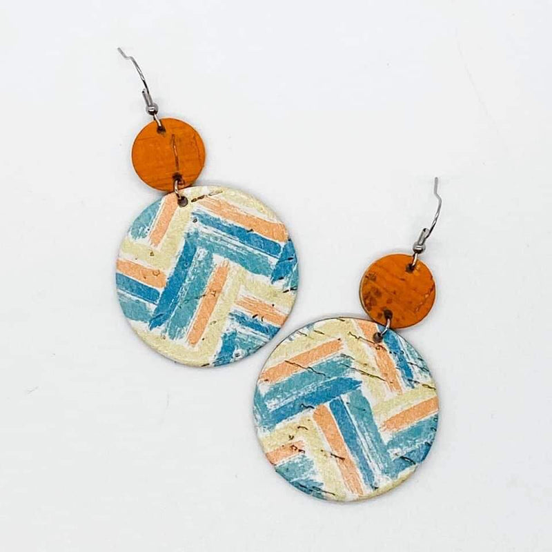 Blue/Orange/Yellow Zigzag Piggyback Earrings- FINAL SALE