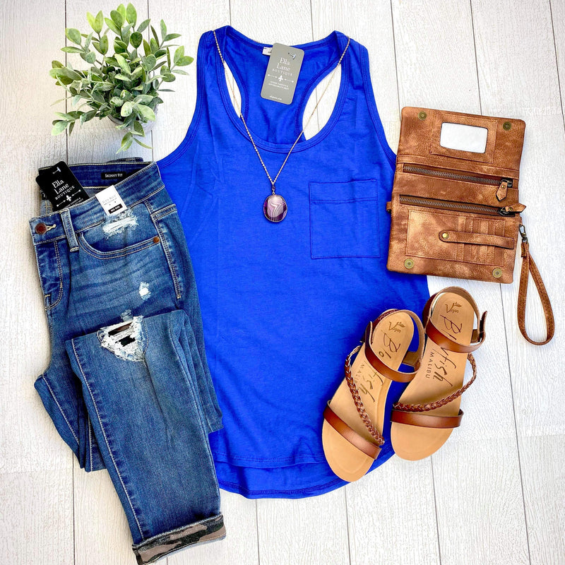 Racer Back Knit Tank - Royal Blue
