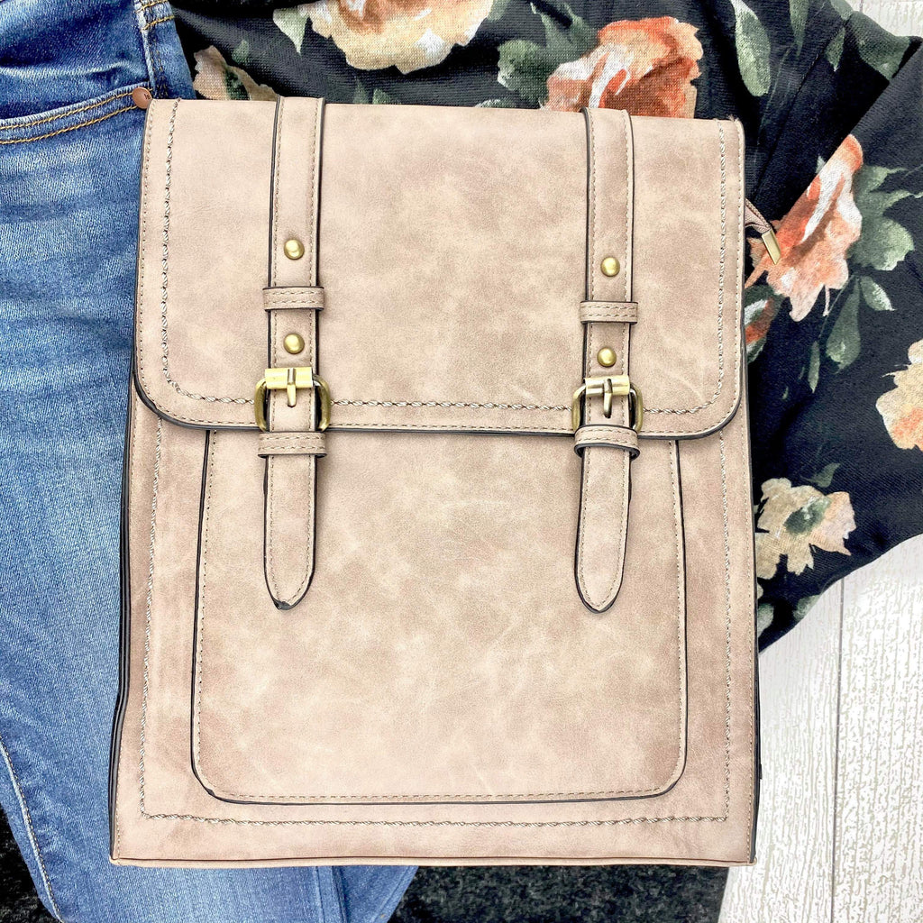 Convertible Structured Backpack - Taupe
