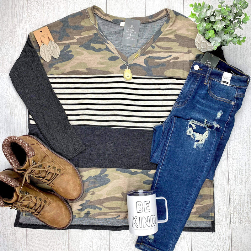 Camo and Stripes Color Block V Neck Top
