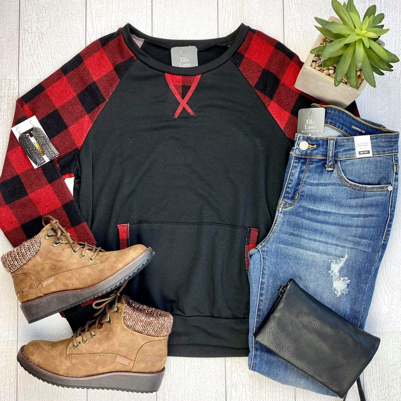 Buffalo Plaid Sleeve Pullover