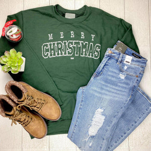 Merry Christmas Pullover Sweatshirt - Forest Green