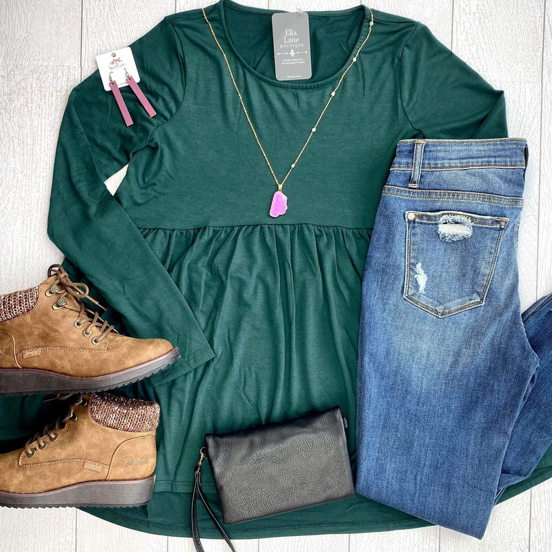 Long Sleeve Peplum Top - Hunter Green