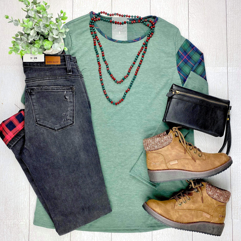 Green Plaid Shoulder Top