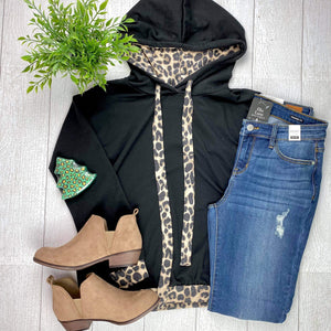 Animal Print Accent Hoodie Top FINAL SALE