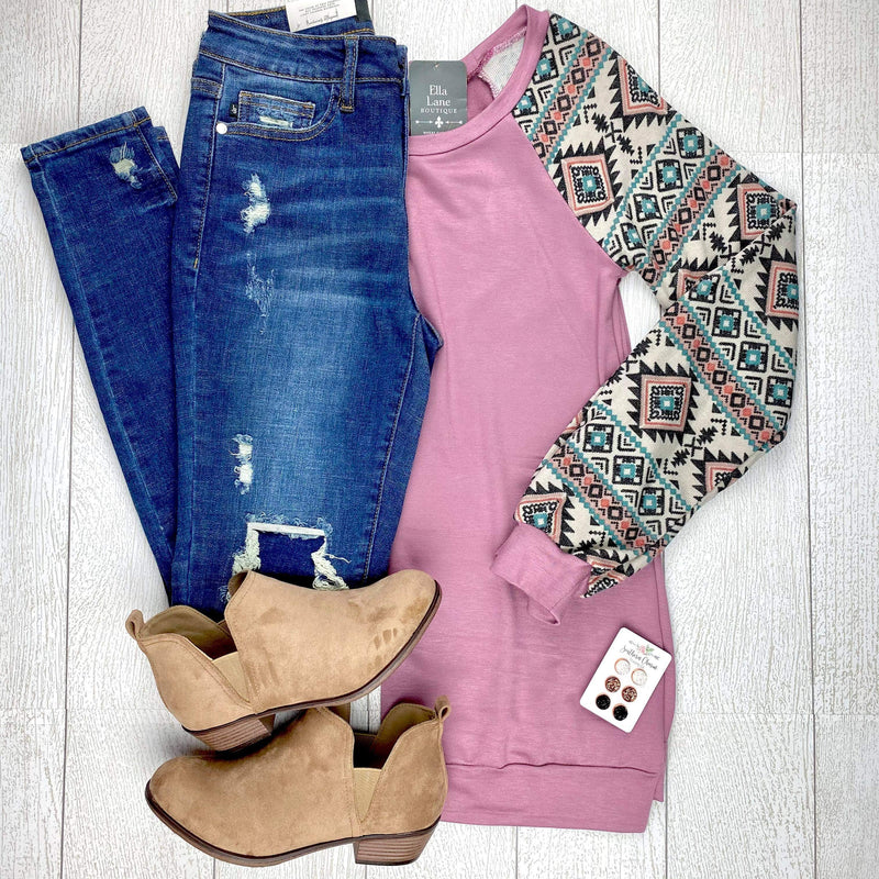 Mauve Aztec Sleeve Top