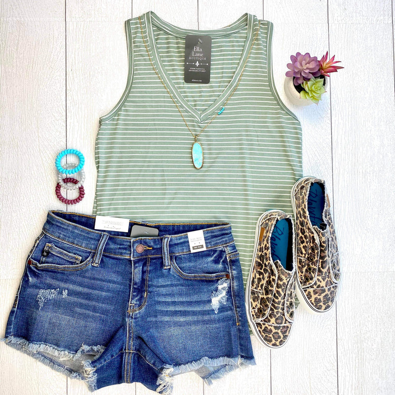 Striped V-Neck Top - Sage/White