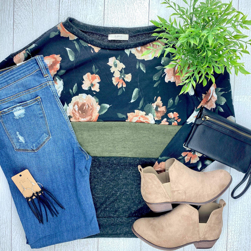 Floral/Olive/Black Color Block Long Sleeve Top