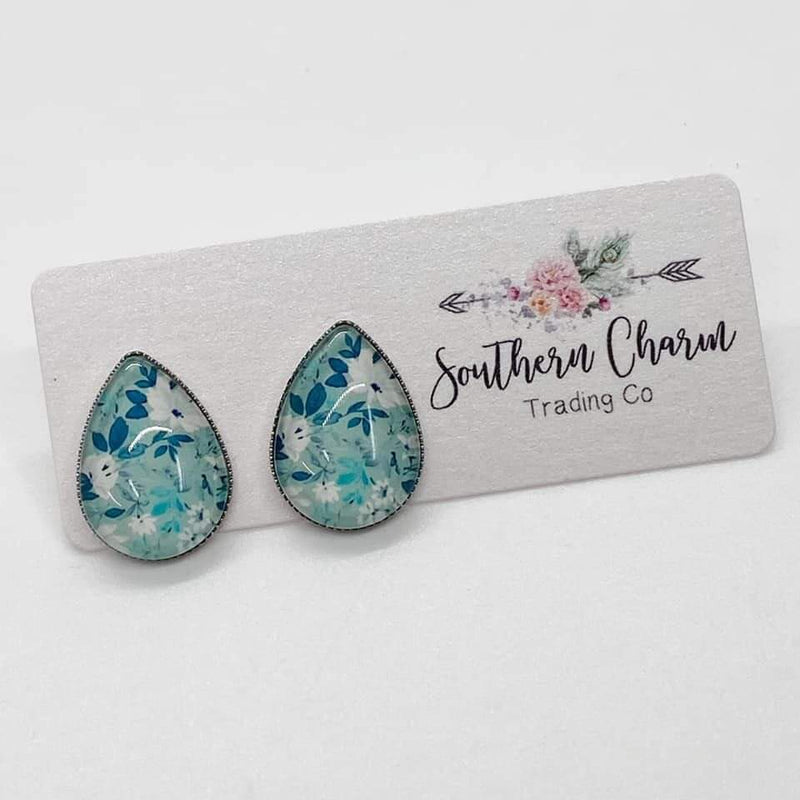 Teardrop Studs - Teal Floral- FINAL SALE