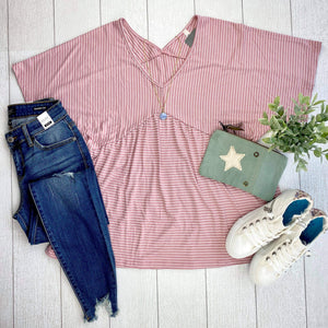 Striped Babydoll Top - Pink