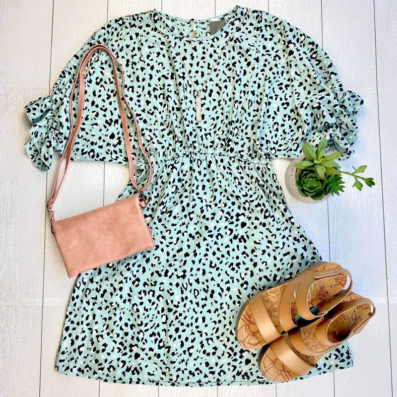 Mint Leopard Woven Dress