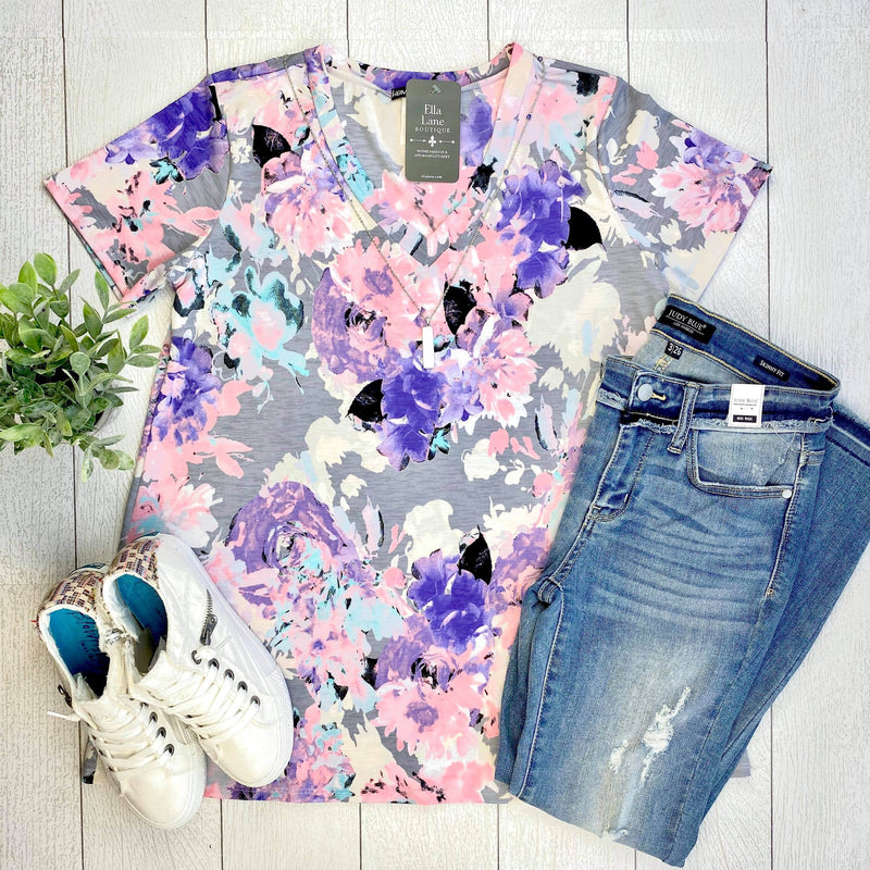 Purple and Grey Floral Top