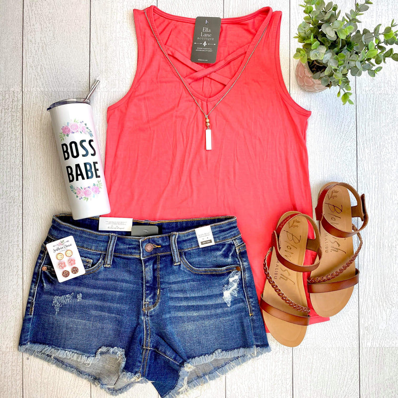 Allie Criss Cross Tank - Coral