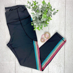 Rainbow Stripe Workout Leggings