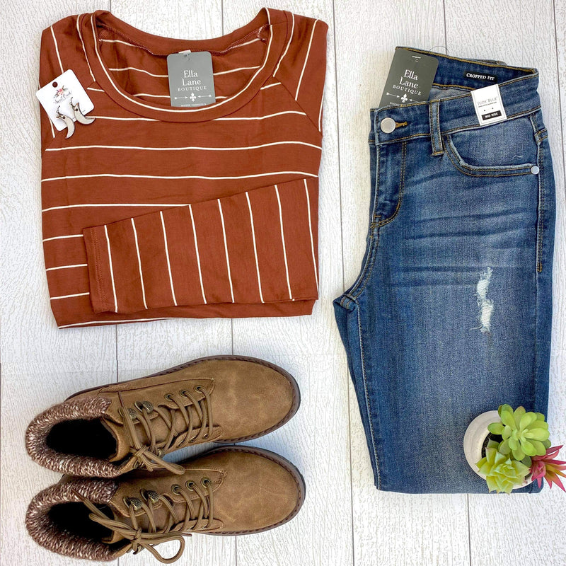 Kelsey Stripe Knit Top - Cinnamon