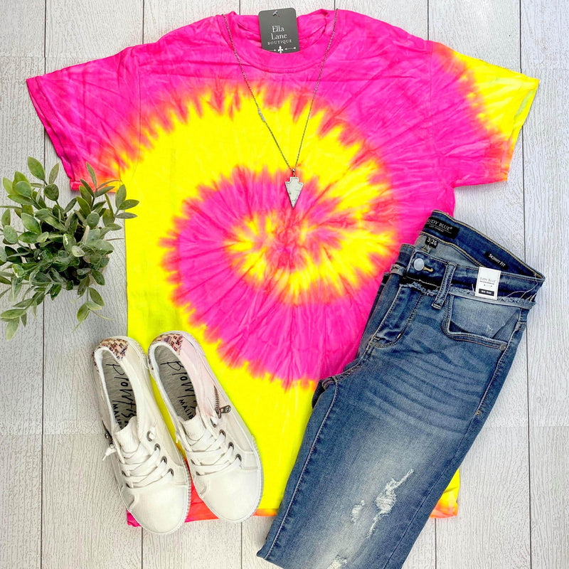 Fluorescent Tie Dye Swirl Tee FINAL SALE