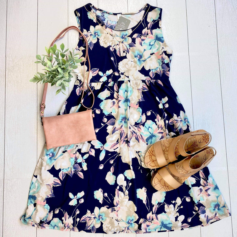 Sleeveless Navy Floral Dress