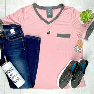 Jersey Pocket Top - Rose