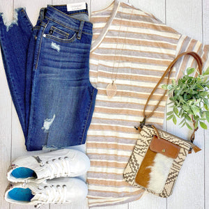 Striped Pocket Knit Top - Sand