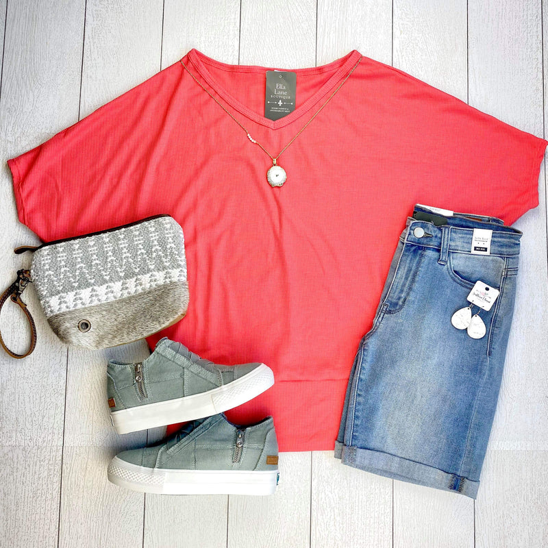 Waffle Knit Dolman Top - Coral