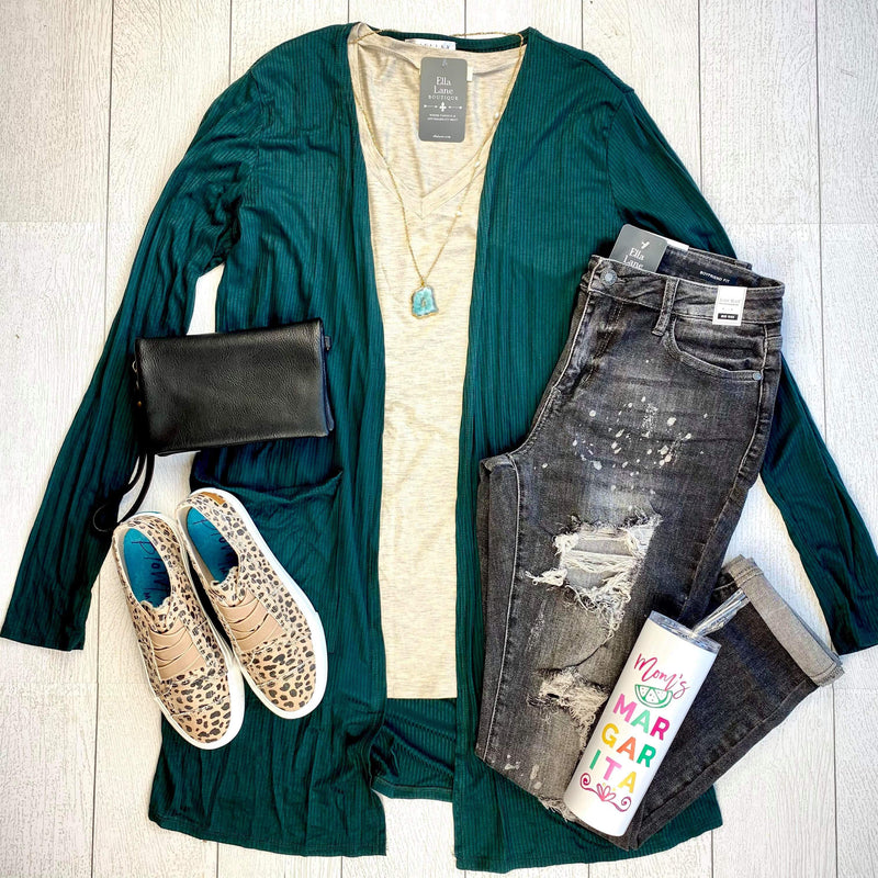 Noelle Long Cardigan - Hunter Green