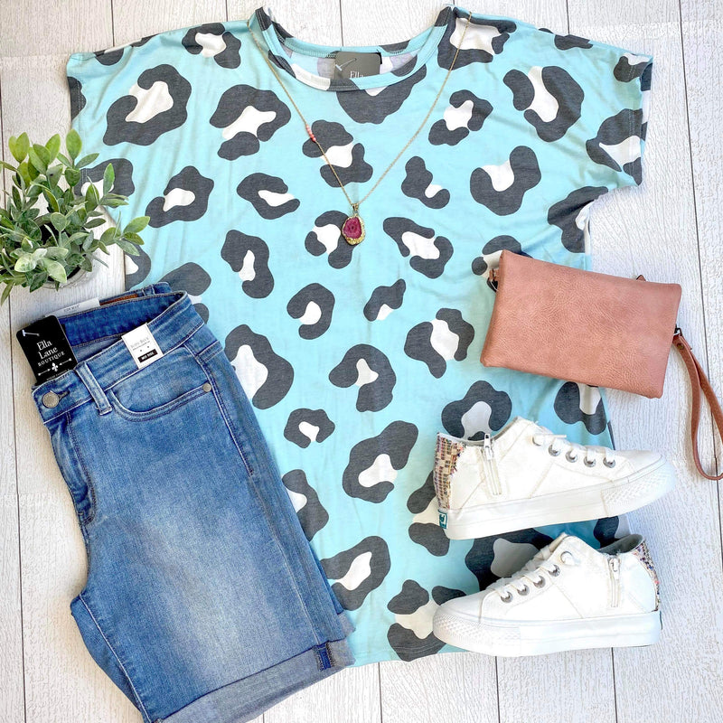 Mint Cheetah Print Top
