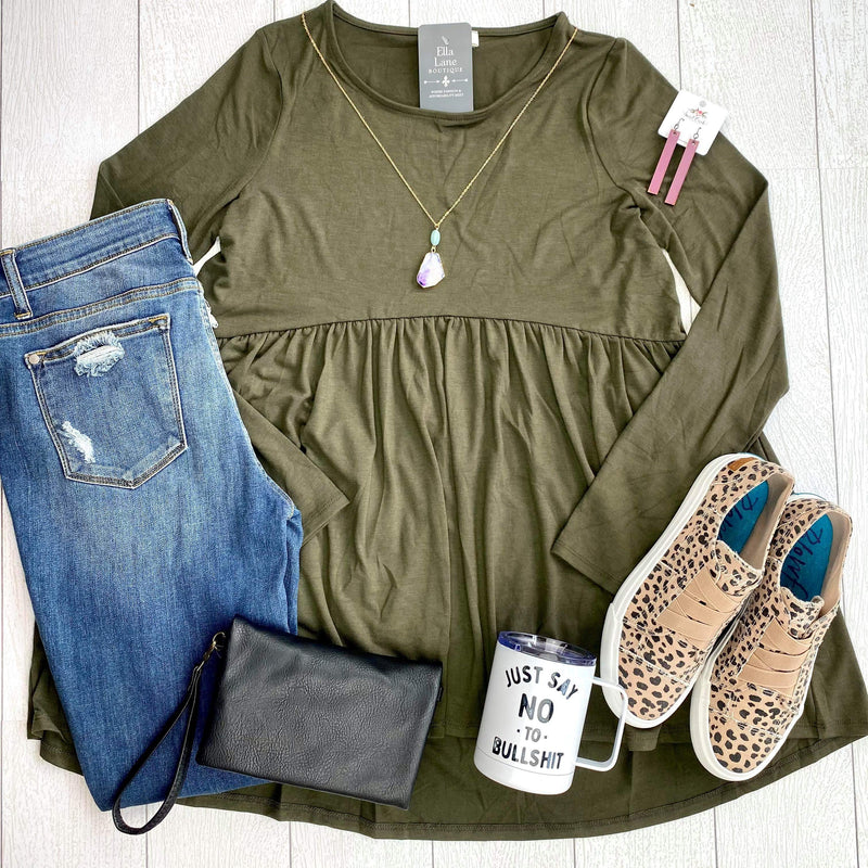 Long Sleeve Peplum Top - Dark Olive