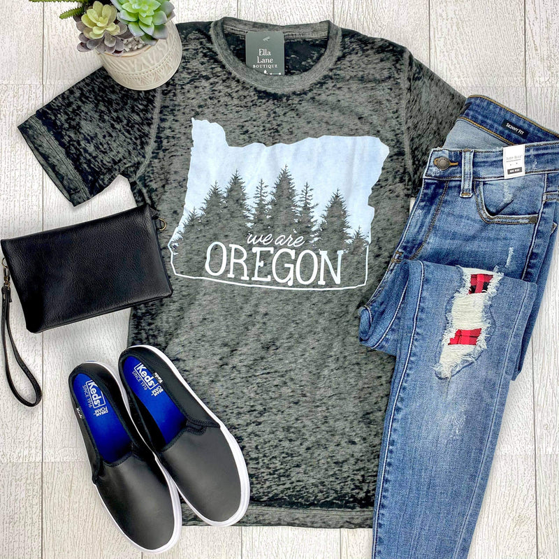 DOORBUSTER We Are Oregon Fundraiser Unisex Tee - Black Acid Wash IN STOCK FINAL SALE