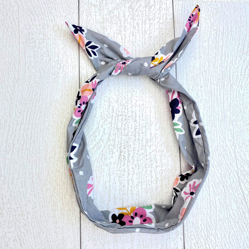 Wire Headband - Grey Floral