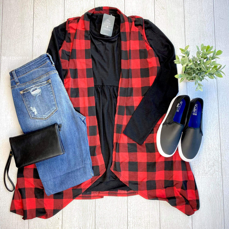 Buffalo Plaid Sleeveless Duster