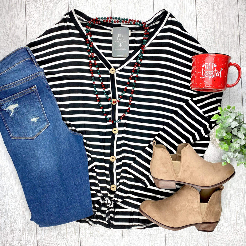 Emma Stripe Top - Black