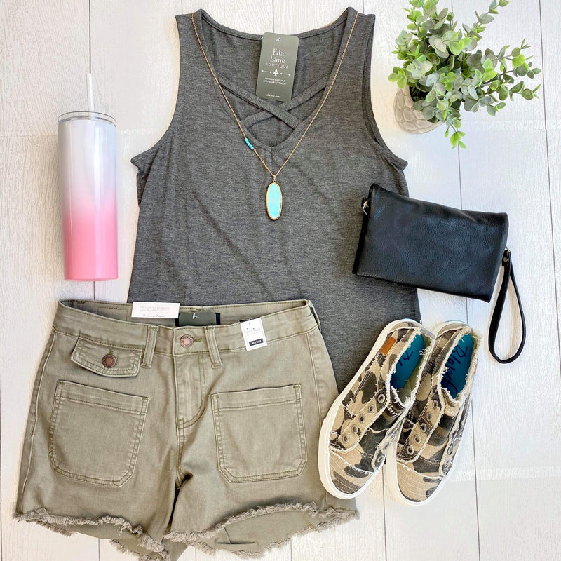 Allie Criss Cross Tank - Charcoal